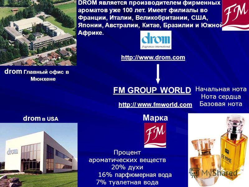 FM GROUP WORLD DROM является производителем фирменных ароматов уже 100 лет. Имеет филиалы во Франции, Италии, Великобритании, США, Японии, Австралии, Китае, Бразилии и Южной Африке. http:// WWW.fmworld.com http://www.drom.com drom Главный офис в Мюнх