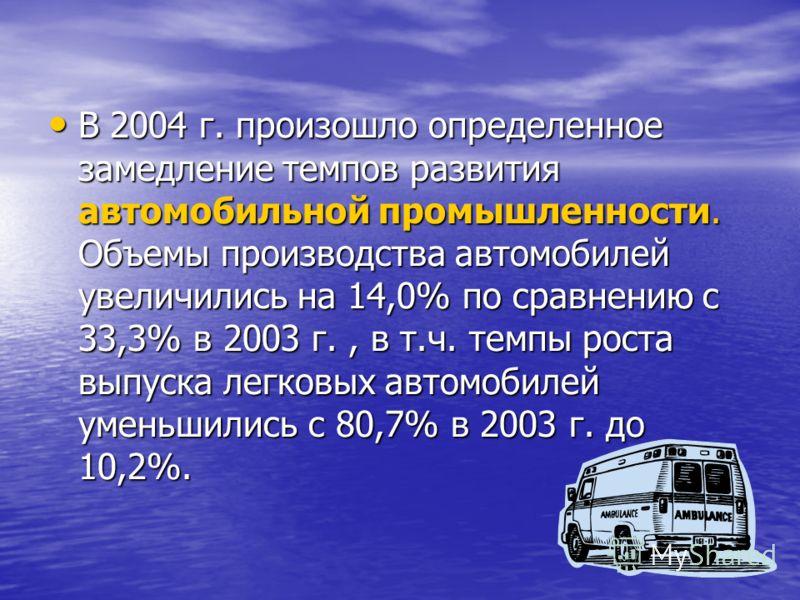 В 2004 г. произошло определенное замедление темпов развития автомобильной промышленности. Объемы производства автомобилей увеличились на 14,0% по сравнению с 33,3% в 2003 г., в т.ч. темпы роста выпуска легковых автомобилей уменьшились с 80,7% в 2003