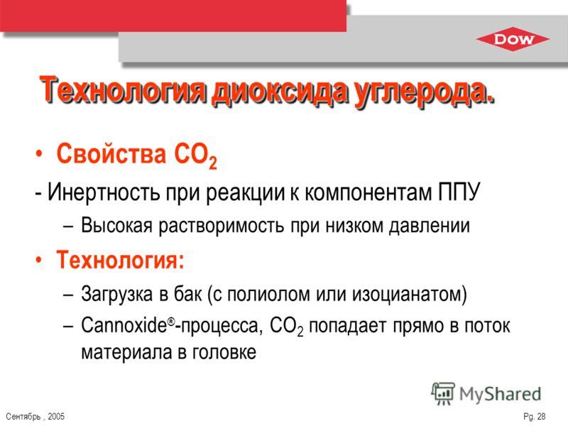 Сентябрь, 2005 Pg. 28 Технология диоксида углерода. Свойства СО 2 - Инертность при реакции к компонентам ППУ –Высокая растворимость при низком давлении Технология: –Загрузка в бак (с полиолом или изоцианатом) –Cannoxide ® -процесса, CO 2 попадает пря