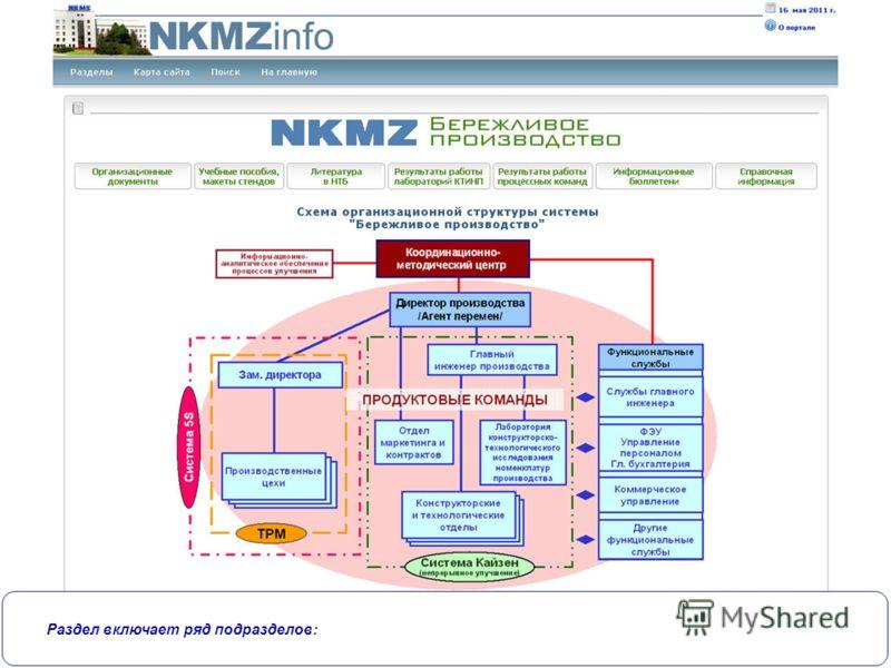 Новокраматорский машиностроительный завод Раздел включает ряд подразделов: