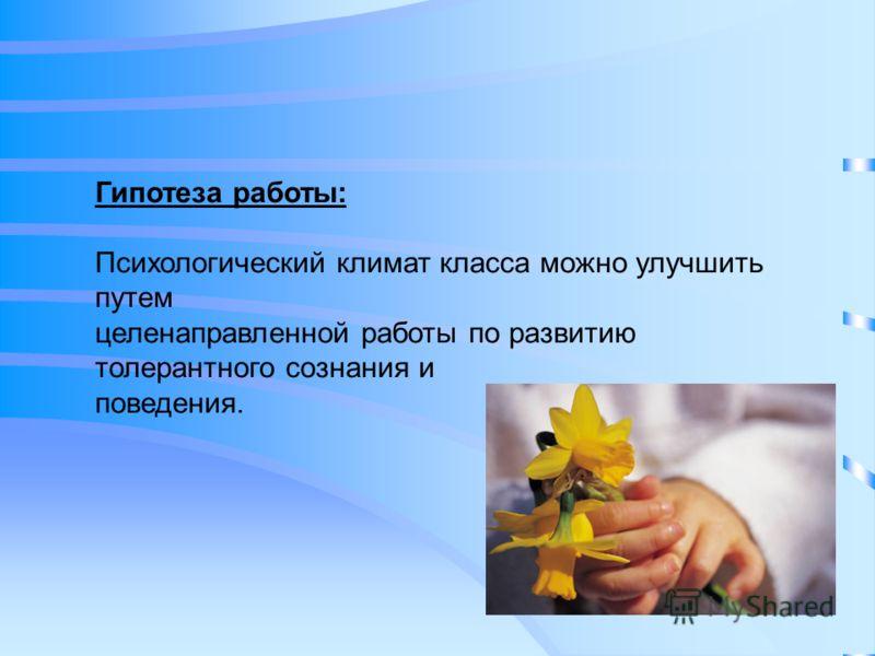 Гипотеза работы: Психологический климат класса можно улучшить путем целенаправленной работы по развитию толерантного сознания и поведения.