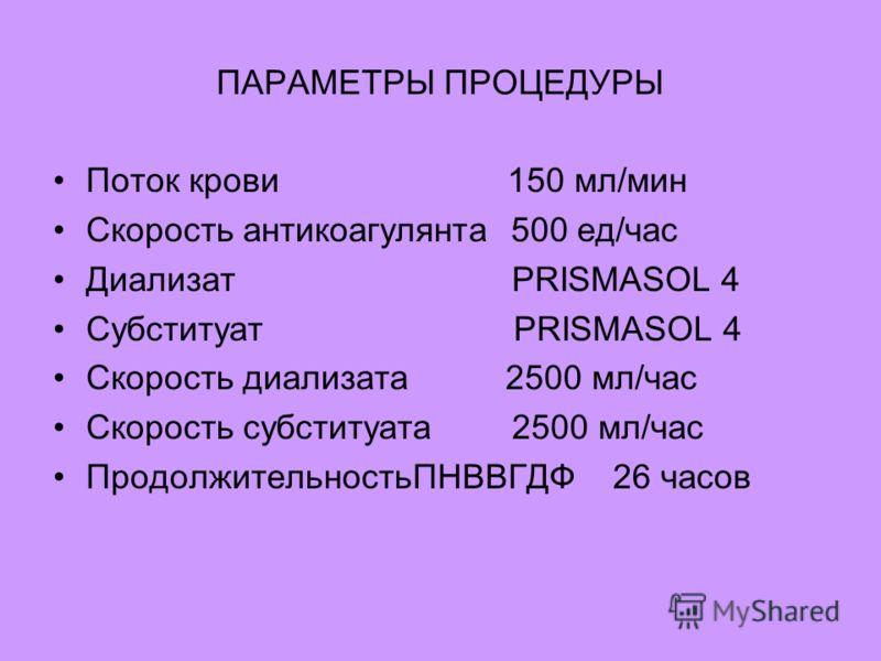 ПАРАМЕТРЫ ПРОЦЕДУРЫ Поток крови 150 мл/мин Скорость антикоагулянта 500 ед/час Диализат PRISMASOL 4 Субституат PRISMASOL 4 Скорость диализата 2500 мл/час Скорость субституата 2500 мл/час ПродолжительностьПНВВГДФ 26 часов