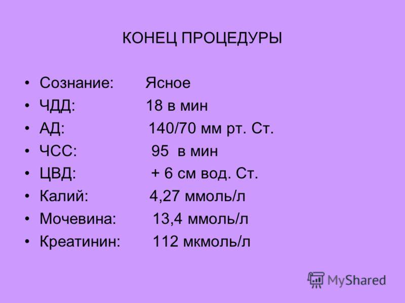 КОНЕЦ ПРОЦЕДУРЫ Сознание: Ясное ЧДД: 18 в мин АД: 140/70 мм рт. Ст. ЧСС: 95 в мин ЦВД: + 6 см вод. Ст. Калий: 4,27 ммоль/л Мочевина: 13,4 ммоль/л Креатинин: 112 мкмоль/л