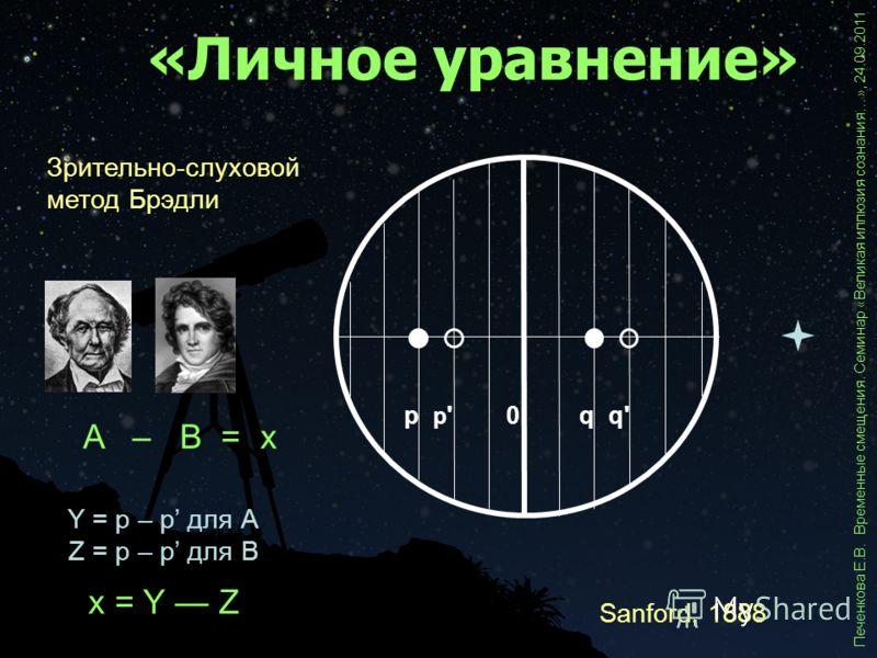 «Личное уравнение» Sanford, 1888 Печенкова Е.В. Временные смещения. Семинар «Великая иллюзия сознания…», 24.09.2011 p'p'q'q'p q 0 Зрительно-слуховой метод Брэдли Y = p – p для А Z = p – p для В x = Y Z A – B = x