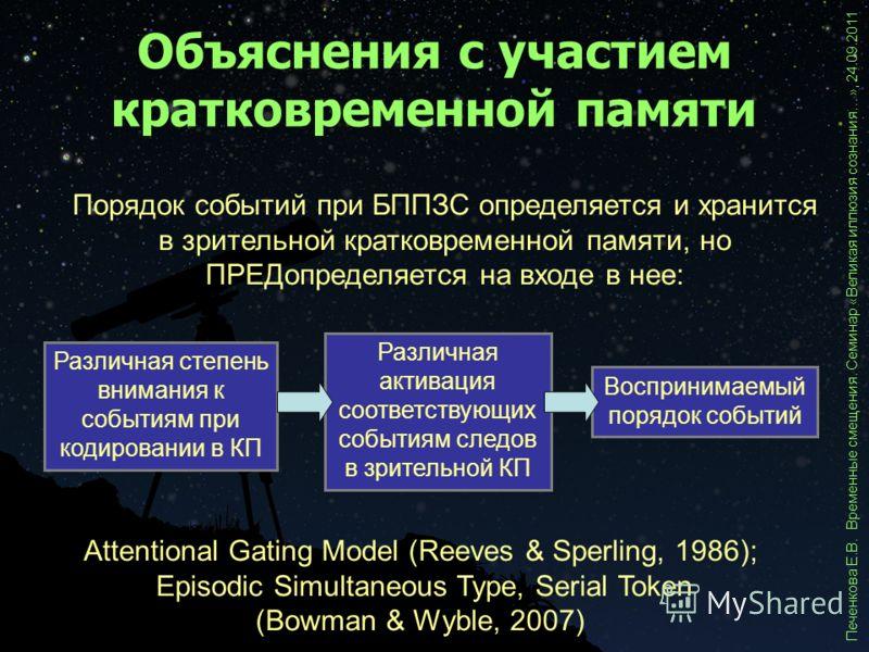Объяснения с участием кратковременной памяти Печенкова Е.В. Временные смещения. Семинар «Великая иллюзия сознания…», 24.09.2011 Attentional Gating Model (Reeves & Sperling, 1986); Episodic Simultaneous Type, Serial Token (Bowman & Wyble, 2007) Порядо