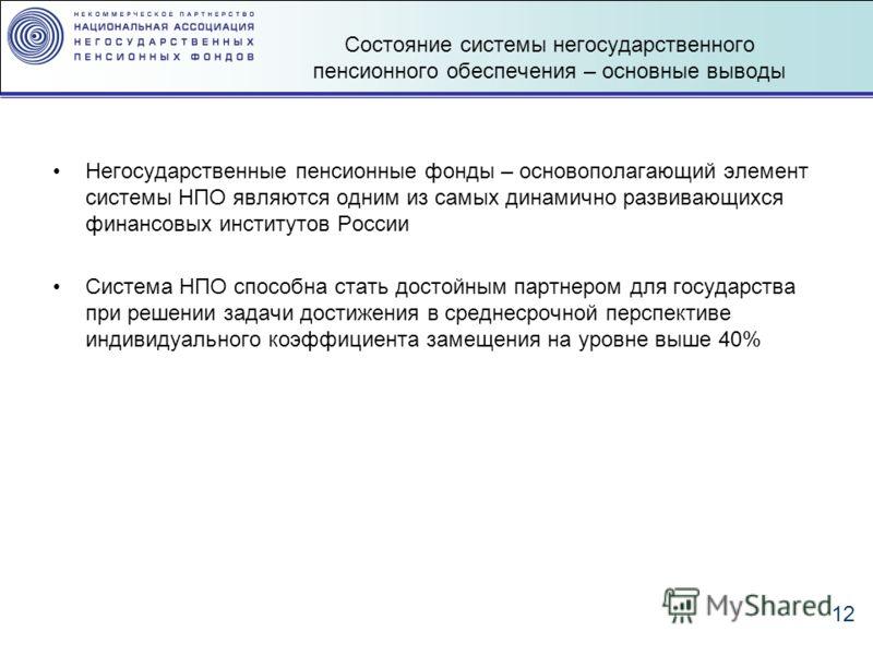 12 Состояние системы негосударственного пенсионного обеспечения – основные выводы Негосударственные пенсионные фонды – основополагающий элемент системы НПО являются одним из самых динамично развивающихся финансовых институтов России Система НПО спосо