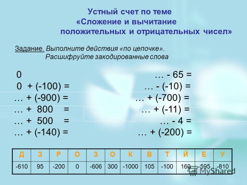 Устный счет по теме «Сложение и вычитание положительных и отрицательных чисел» Задание. Выполните действия «по цепочке». Расшифруйте закодированные слова 0 … - 65 = 0 + (-100) = … - (-10) = … + (-900) = … + (-700) = … + 800 = … + (-11) = … + 500 = …