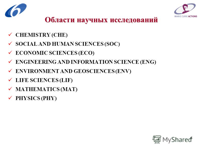 6 Области научных исследований CHEMISTRY (CHE) SOCIAL AND HUMAN SCIENCES (SOC) ECONOMIC SCIENCES (ECO) ENGINEERING AND INFORMATION SCIENCE (ENG) ENVIRONMENT AND GEOSCIENCES (ENV) LIFE SCIENCES (LIF) MATHEMATICS (MAT) PHYSICS (PHY)