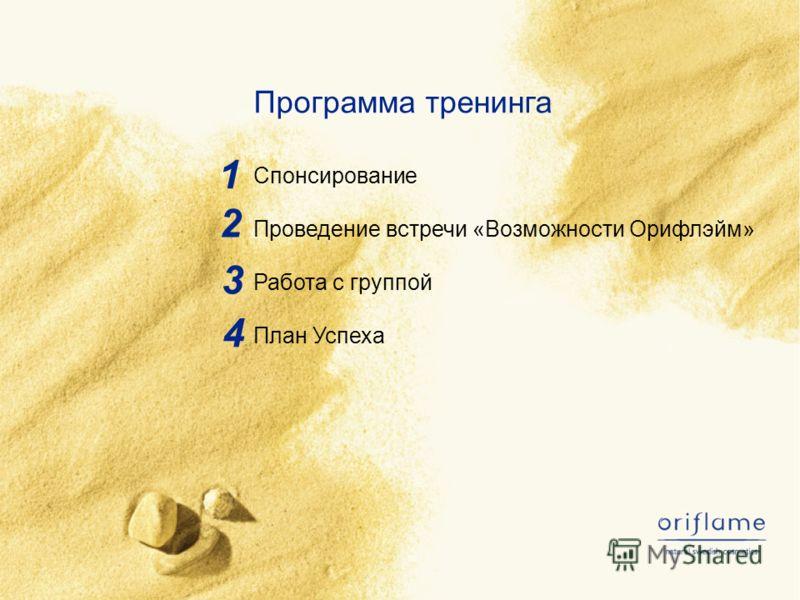1 2 3 Программа тренинга Спонсирование Проведение встречи «Возможности Орифлэйм» Работа с группой План Успеха 4