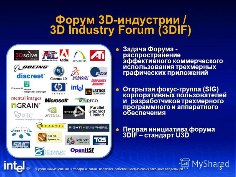 *Другие наименования и товарные знаки являются собственностью своих законных владельцев 13 Форум 3D-индустрии / 3D Industry Forum (3DIF) Задача Форума - распространение эффективного коммерческого использования трехмерных графических приложений Задача