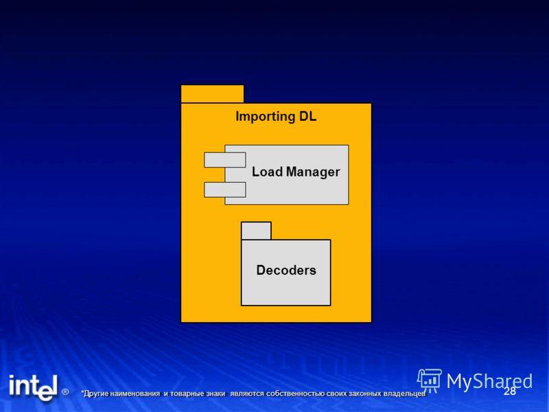 *Другие наименования и товарные знаки являются собственностью своих законных владельцев 28 Importing DL Load Manager Decoders