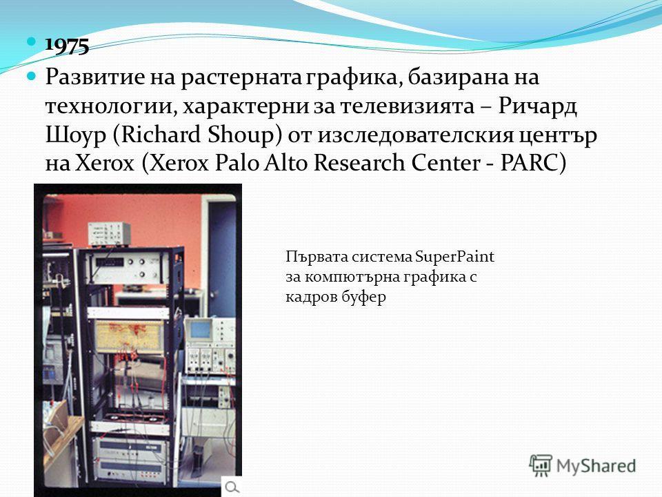 1975 Развитие на растерната графика, базирана на технологии, характерни за телевизията – Ричард Шоур (Richard Shoup) от изследователския център на Xerox (Xerox Palo Alto Research Center - PARC) Първата система SuperPaint за компютърна графика с кадро