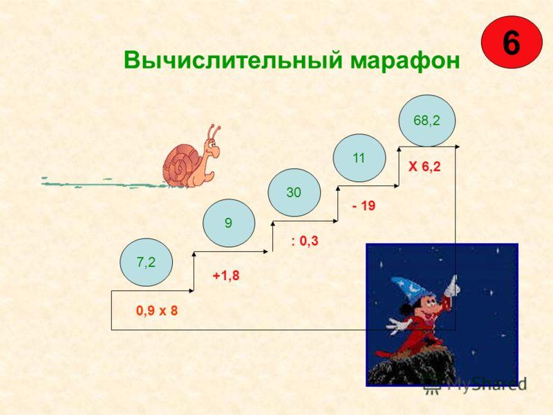 Вычислительный марафон 0,9 х 8 +1,8 : 0,3 - 19 Х 6,2 7,2 9 30 11 68,2 6