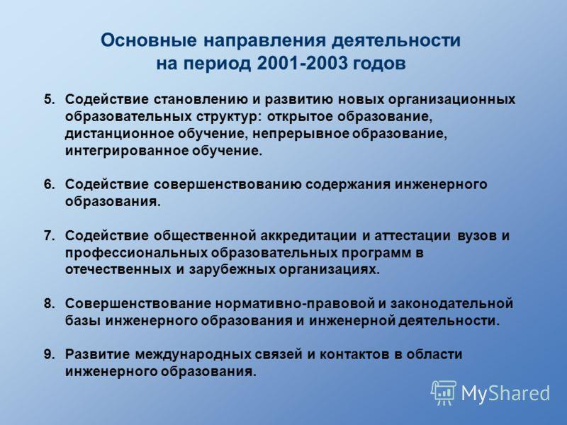 Основные направления деятельности на период 2001-2003 годов 5.Содействие становлению и развитию новых организационных образовательных структур: открытое образование, дистанционное обучение, непрерывное образование, интегрированное обучение. 6.Содейст
