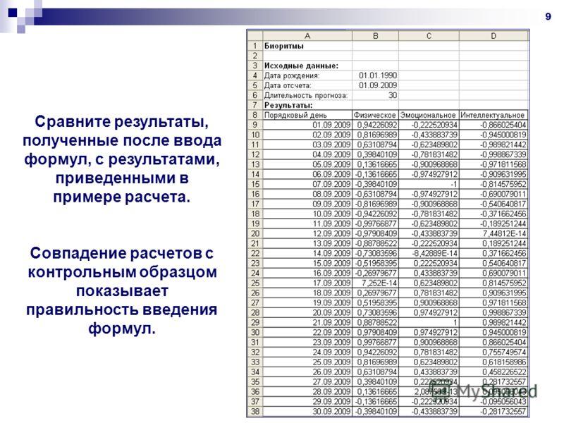 9 Сравните результаты, полученные после ввода формул, с результатами, приведенными в примере расчета. Совпадение расчетов с контрольным образцом показывает правильность введения формул.