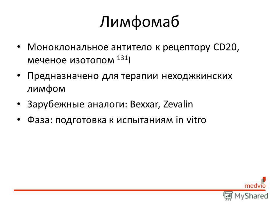 Лимфомаб Моноклональное антитело к рецептору CD20, меченое изотопом 131 I Предназначено для терапии неходжкинских лимфом Зарубежные аналоги: Bexxar, Zevalin Фаза: подготовка к испытаниям in vitro