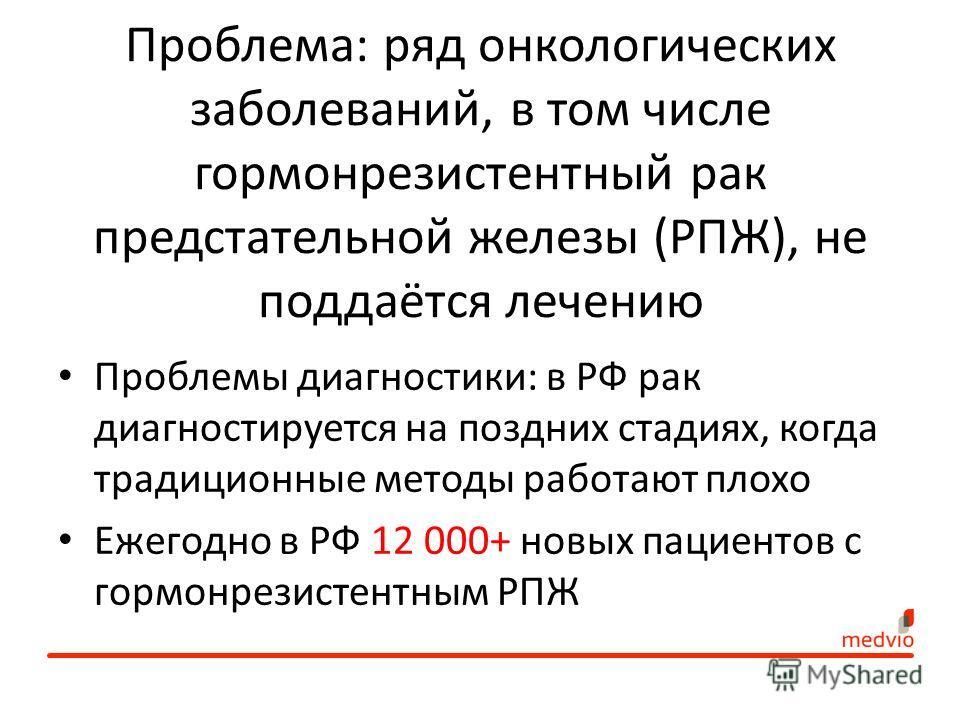 Проблема: ряд онкологических заболеваний, в том числе гормон резистентный рак предстательной железы (РПЖ), не поддаётся лечению Проблемы диагностики: в РФ рак диагностируется на поздних стадиях, когда традиционные методы работают плохо Ежегодно в РФ