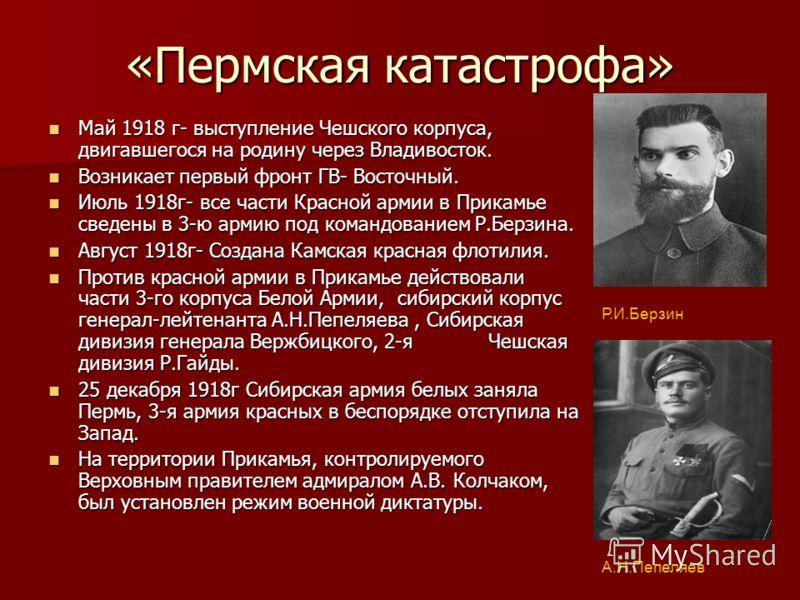 «Пермская катастрофа» Май 1918 г- выступление Чешского корпуса, двигавшегося на родину через Владивосток. Май 1918 г- выступление Чешского корпуса, двигавшегося на родину через Владивосток. Возникает первый фронт ГВ- Восточный. Возникает первый фронт