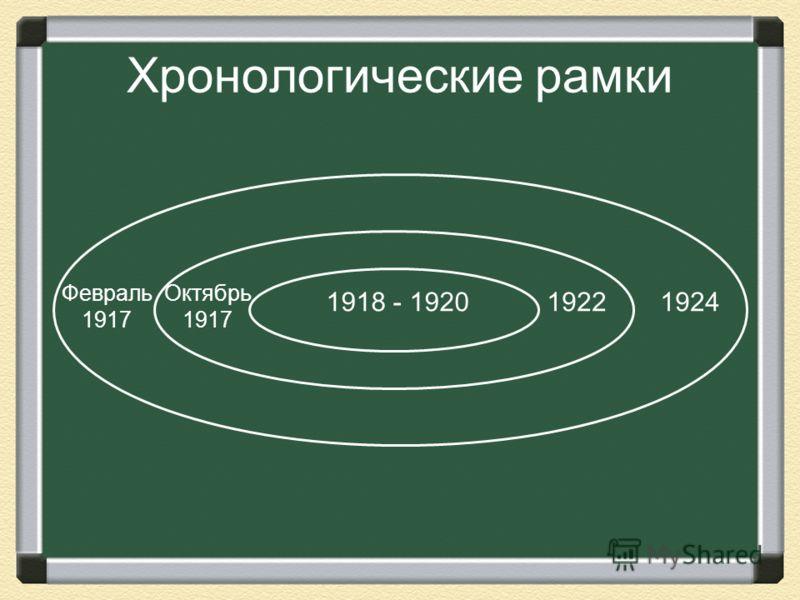 Хронологические рамки Февраль 1917 1924 Октябрь 1917 1918 - 19201922