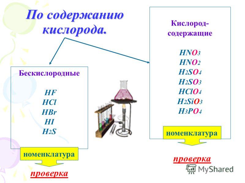 По содержанию кислорода. Бескислородные HF HCl HBr HI H 2 S Кислород- содержащие HNO 3 HNO 2 H 2 SO 4 H 2 SO 3 HClO 4 H 2 SiO 3 H 3 PO 4 номенклатура проверка