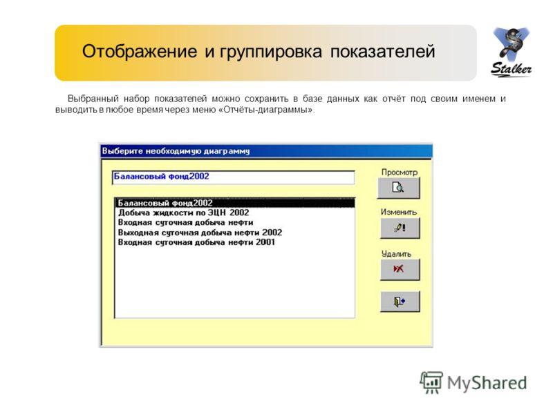 Отображение и группировка показателей Выбранный набор показателей можно сохранить в базе данных как отчёт под своим именем и выводить в любое время через меню «Отчёты-диаграммы».