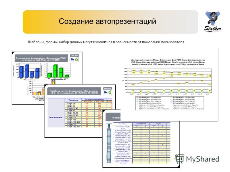 Создание автопрезентаций Шаблоны, формы, набор данных могут изменяться в зависимости от пожеланий пользователя