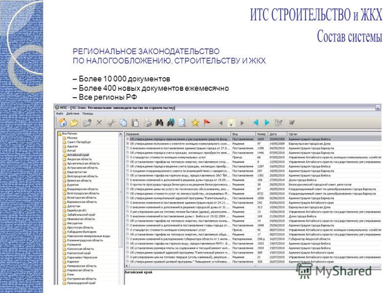 РЕГИОНАЛЬНОЕ ЗАКОНОДАТЕЛЬСТВО ПО НАЛОГООБЛОЖЕНИЮ, СТРОИТЕЛЬСТВУ И ЖКХ – Более 10 000 документов – Более 400 новых документов ежемесячно – Все регионы РФ