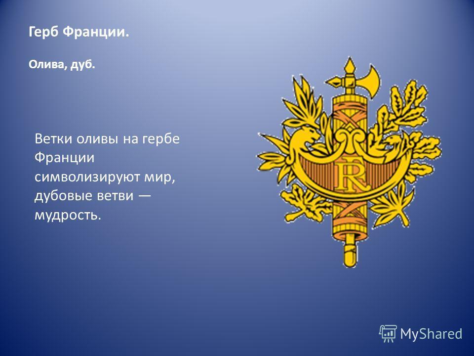 Герб Франции. Олива, дуб. Ветки оливы на гербе Франции символизируют мир, дубовые ветви мудрость.