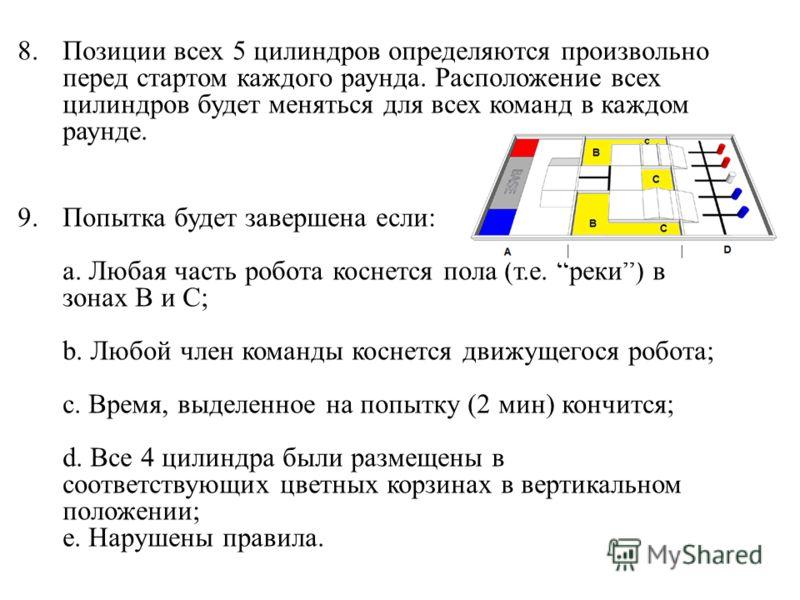 8.Позиции всех 5 цилиндров определяются произвольно перед стартом каждого раунда. Расположение всех цилиндров будет меняться для всех команд в каждом раунде. 9.Попытка будет завершена если: a. Любая часть робота коснется пола (т.е. реки) в зонах B и