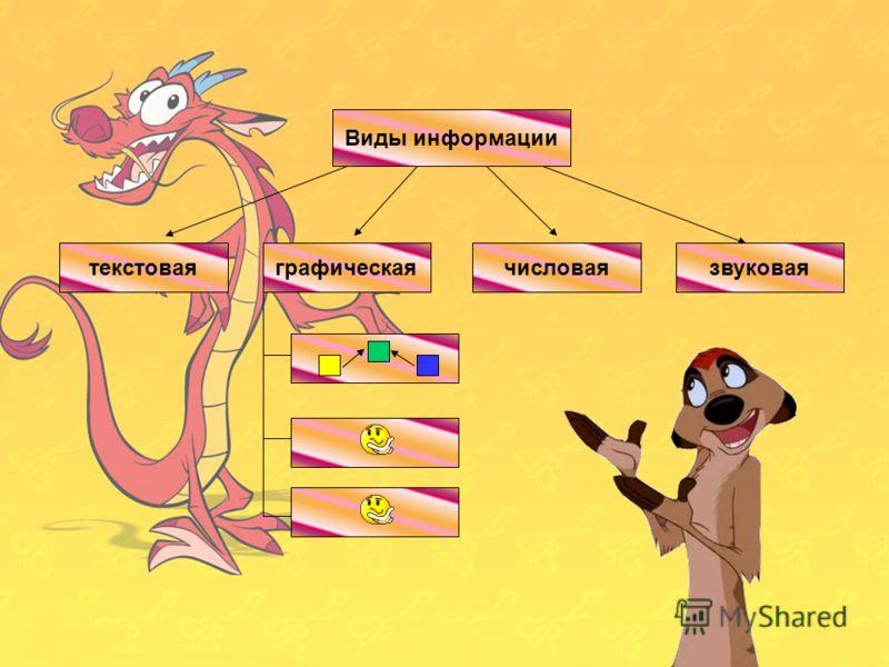 Виды информации числоваятекстоваяграфическаязвуковая Виды информации текстоваячисловаязвуковая