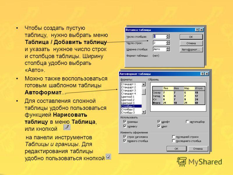 Для создания и обработки таблиц можно воспользоваться панелью инструментов «Таблицы и границы». Можно воспользоваться пунктом меню «Таблица». Для редактирования строки или столбца таблицы нужно выделить их с помощью мышки (удерживая левую кнопку), ил