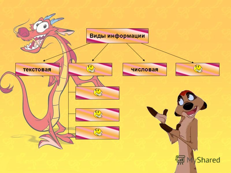 Виды информации 3-1=2текстовая