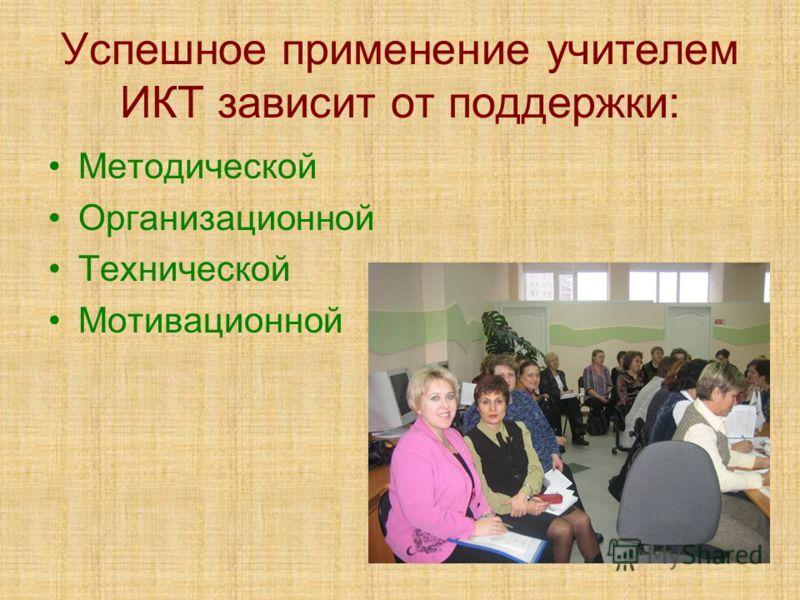 Успешное применение учителем ИКТ зависит от поддержки: Методической Организационной Технической Мотивационной