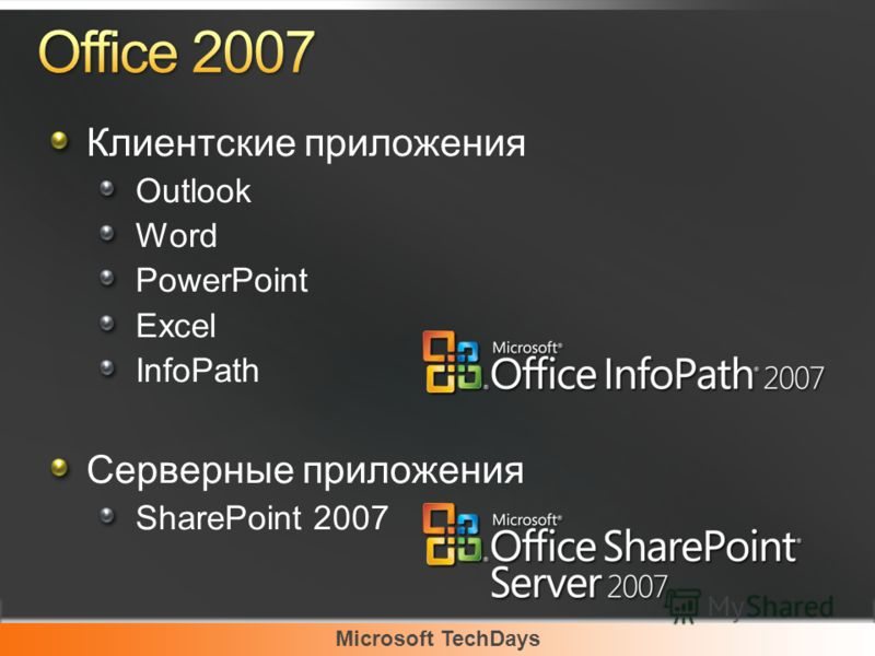 Microsoft TechDays Клиентские приложения Outlook Word PowerPoint Excel InfoPath Серверные приложения SharePoint 2007