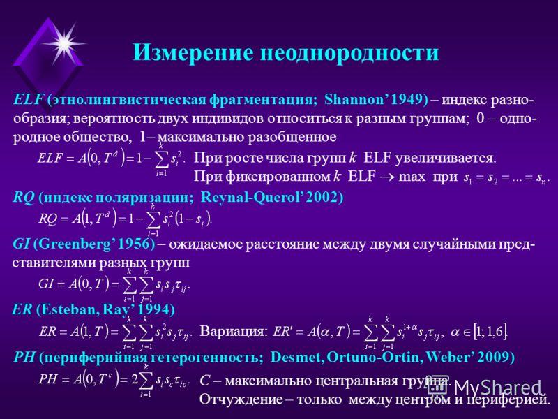 ELF (этнолингвистическая фрагментация; Shannon 1949) – индекс разно- образия; вероятность двух индивидов относиться к разным группам; 0 – одно- родное общество, 1– максимально разобщенное При фиксированном k ELF max при При росте числа групп k ELF ув