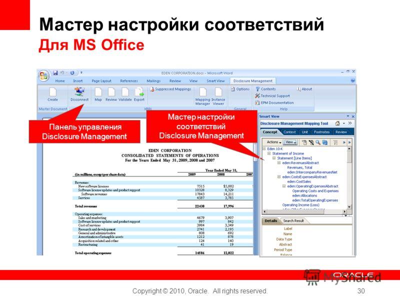 Copyright © 2010, Oracle. All rights reserved. 30 Мастер настройки соответствий Для MS Office Панель управления Disclosure Management Мастер настройки соответствий Disclosure Management