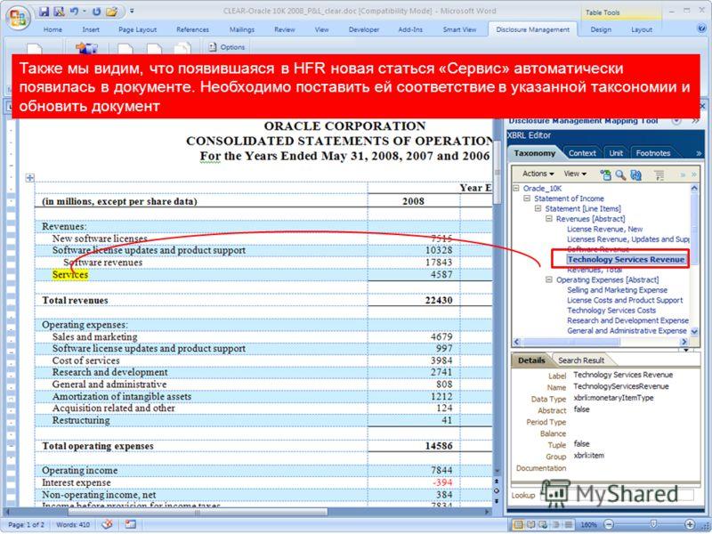 Copyright © 2010, Oracle. All rights reserved. 44 Также мы видим, что появившаяся в HFR новая статься «Сервис» автоматически появилась в документе. Необходимо поставить ей соответствие в указанной таксономии и обновить документ