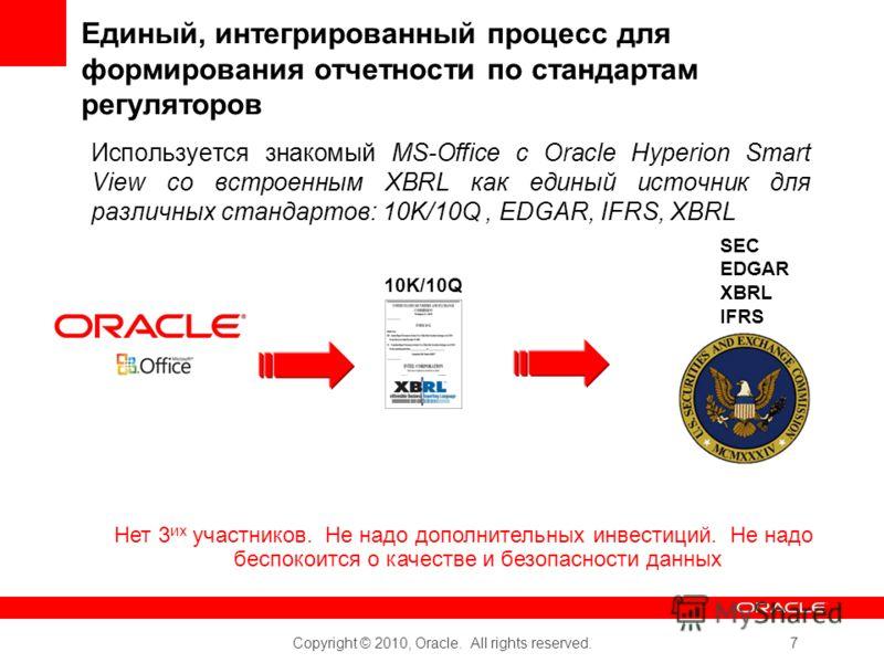Copyright © 2010, Oracle. All rights reserved. 7 Единый, интегрированный процесс для формирования отчетности по стандартам регуляторов Используется знакомый MS-Office с Oracle Hyperion Smart View со встроенным XBRL как единый источник для различных с