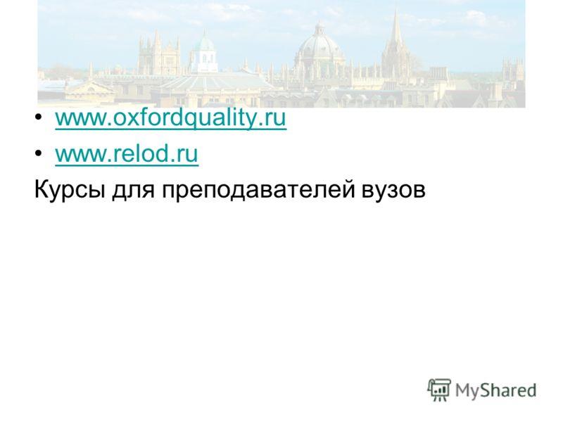 www.oxfordquality.ru www.relod.ru Курсы для преподавателей вузов