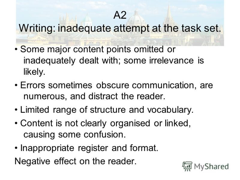 A2 Writing: inadequate attempt at the task set. Some major content points omitted or inadequately dealt with; some irrelevance is likely. Errors sometimes obscure communication, are numerous, and distract the reader. Limited range of structure and vo