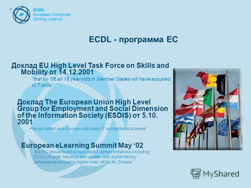 Доклад EU High Level Task Force on Skills and Mobility от 14.12.2001 that by 06 all 16 year olds in Member States will have acquired ICT skills Доклад The European Union High Level Group for Employment and Social Dimension of the Information Society