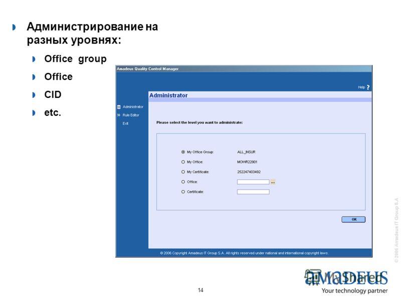 © 2006 Amadeus IT Group S.A 14 Администрирование на разных уровнях: Office group Office CID etc.