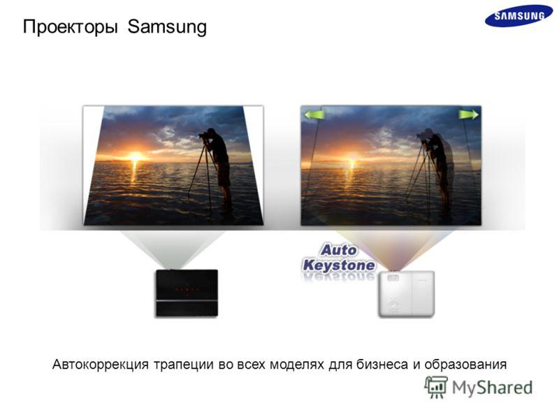 Автокоррекция трапеции во всех моделях для бизнеса и образования Проекторы Samsung