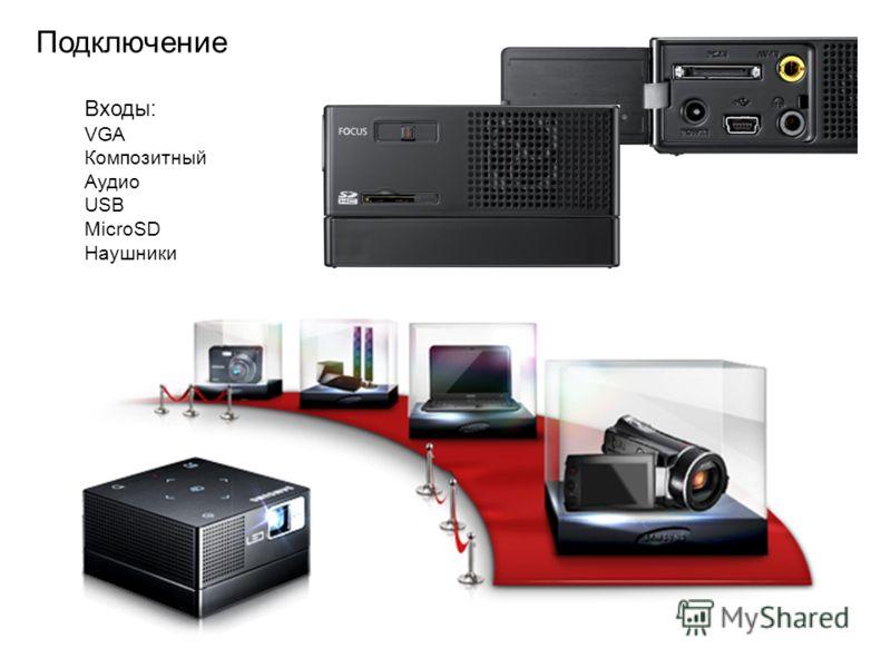 Подключение Входы: VGA Композитный Аудио USB MicroSD Наушники