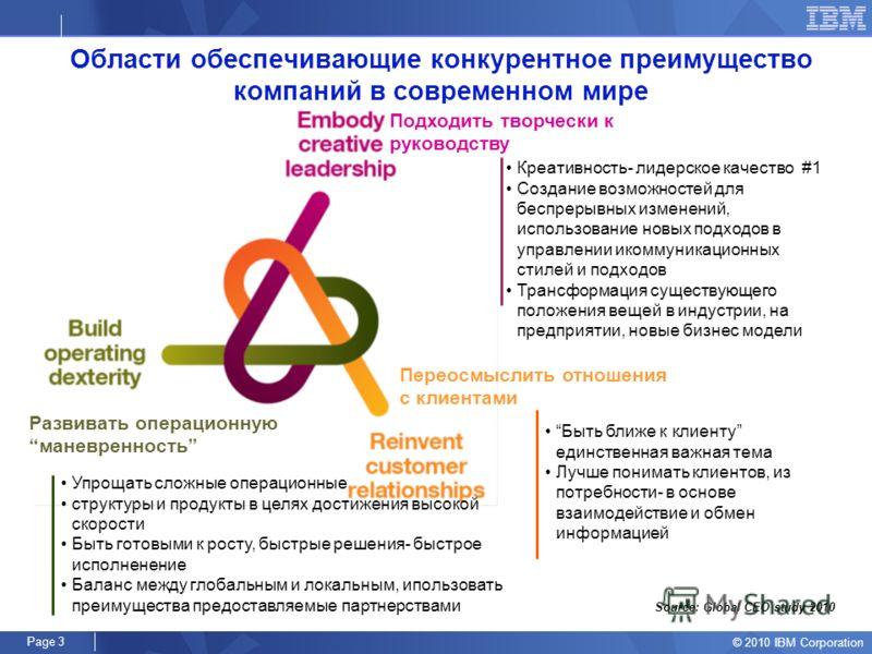 © 2010 IBM Corporation Page 2 HR ВЫЗОВЫ В СОВРЕМЕННОМ МИРЕ 9. Творческий подход к управлению (creative leadership) - ключевая компетенция руководителей, в ближайшие 5 лет влияющая на успех компаний (IBM Global CEO study 2010) 1. Социальная ответствен
