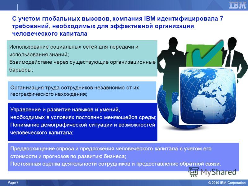© 2010 IBM Corporation Page 6 Трансформация HR функций- вчера и завтра Вчера Стратегические функции HR программы и политики Оказание сервиса: административные функциии, трансакционная роль 15% 25% 60% Завтра 40% 50% 10% HR программы и политики Оказан