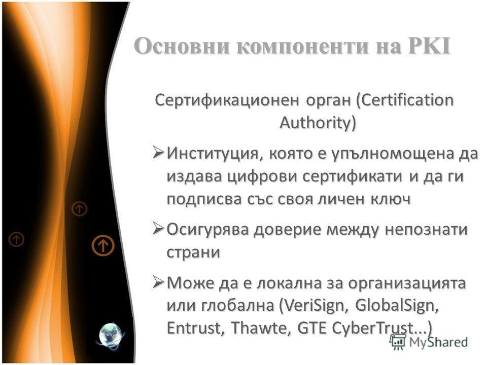 Основни компоненти на PKI Сертификационен орган (Certification Authority) Институция, която е упълномощена да издава цифрови сертификати и да ги подписва със своя личен ключ Институция, която е упълномощена да издава цифрови сертификати и да ги подпи