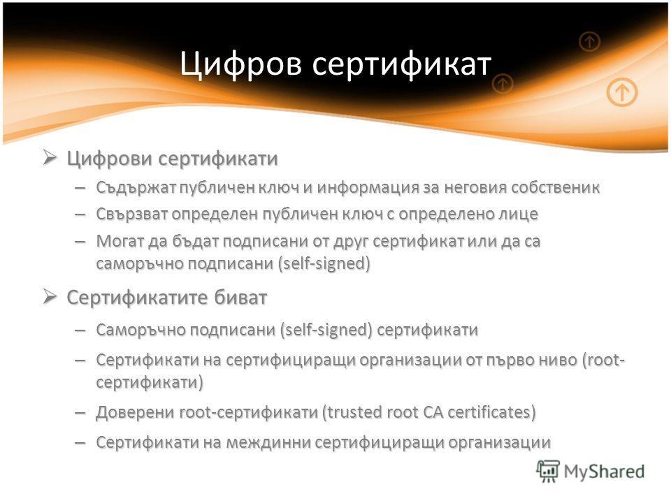 Цифров сертификат Цифрови сертификати Цифрови сертификати – Съдържат публичен ключ и информация за неговия собственик – Свързват определен публичен ключ с определено лице – Могат да бъдат подписани от друг сертификат или да са саморъчно подписани (se