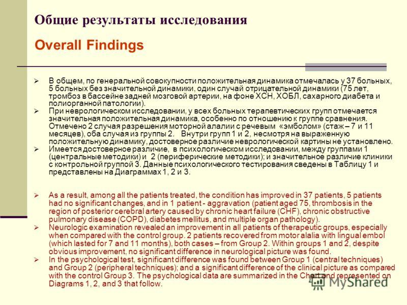 Общие результаты исследования В общем, по генеральной совокупности положительная динамика отмечалась у 37 больных, 5 больных без значительной динамики, один случай отрицательной динамики (75 лет, тромбоз в бассейне задней мозговой артерии, на фоне ХС
