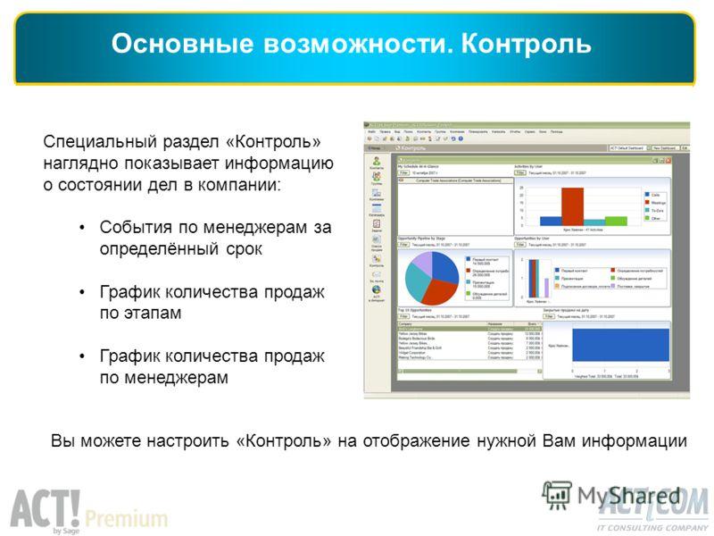 Специальный раздел «Контроль» наглядно показывает информацию о состоянии дел в компании: События по менеджерам за определённый срок График количества продаж по этапам График количества продаж по менеджерам Основные возможности. Контроль Вы можете нас